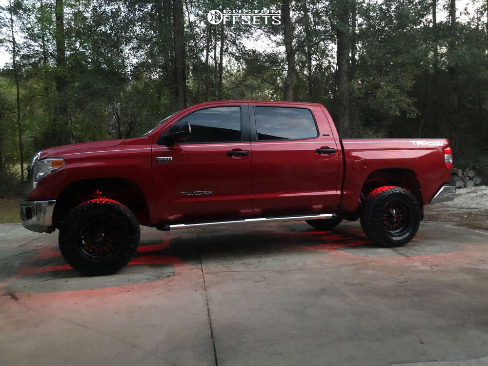 """2017 Toyota Tundra Aggressive > 1"""" outside fender on 18x9 -12 offset Fuel Stroke and 285/65 Nitto Ridge Grappler on Suspension Lift 4"""" - Custom Offsets Gallery"""