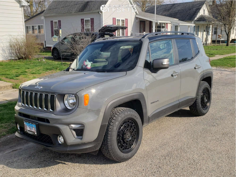 """2020 Jeep Renegade Aggressive > 1"""" outside fender on 17x9.5 6 offset Black Rhino Armory & 225/65 Toyo Tires Open Country A/t Ii on Stock Suspension - Custom Offsets Gallery"""