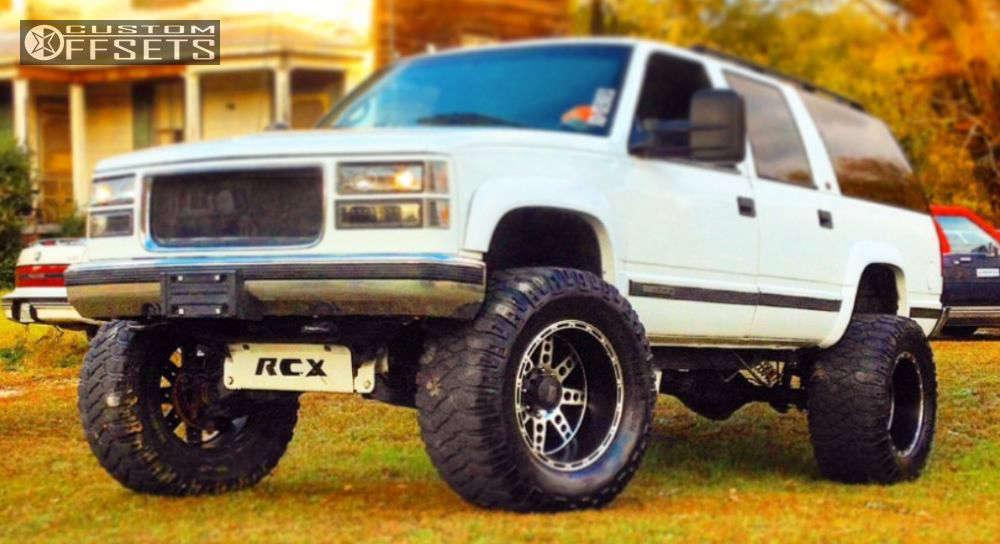"1998 GMC K2500 Suburban Hella Stance >5"" on 20x14 -76 offset XD Diesel and 38""x15.5"" Mickey Thompson Baja MTZ on Suspension Lift 9"" - Custom Offsets Gallery"