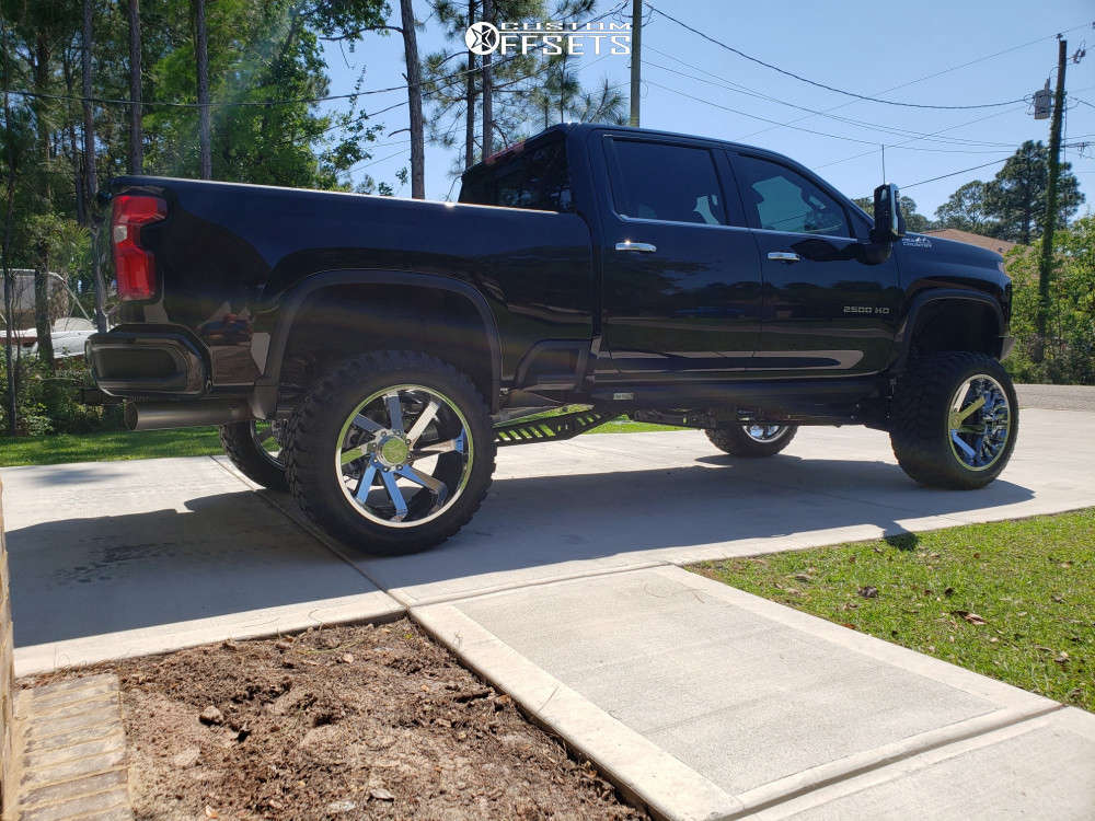 """2020 Chevrolet Silverado 2500 HD Aggressive > 1"""" outside fender on 24x14 -81 offset ARKON OFF-ROAD Lincoln & 38""""x15.5"""" Fury Offroad Country Hunter Mt on Suspension Lift 9"""" - Custom Offsets Gallery"""