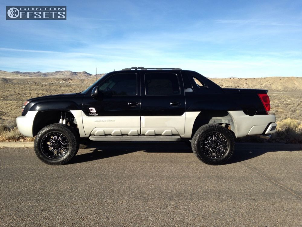 """2002 Chevrolet Avalanche Aggressive > 1"""" outside fender on 20x10 -12 offset RBP Assassin and 35""""x12.5"""" Toyo Tires Open Country A/T II on Suspension Lift 6"""" - Custom Offsets Gallery"""
