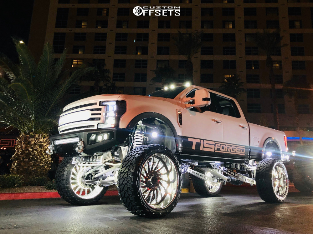 """2017 Ford F-250 Super Duty Super Aggressive 3""""-5"""" on 30x16 -101 offset TIS Forged Concept and 42""""x16.5"""" Fury Offroad Country Hunter Mt on Suspension Lift 12"""" - Custom Offsets Gallery"""