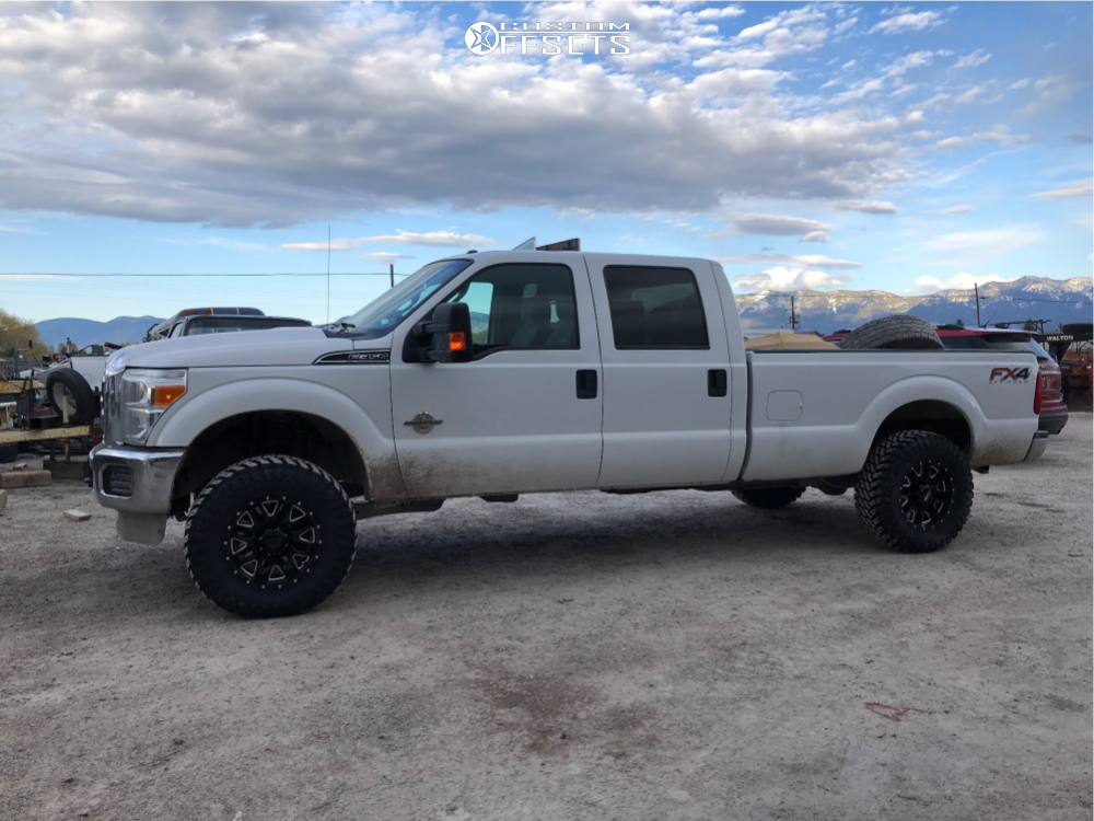 """2013 Ford F-350 Super Duty Aggressive > 1"""" outside fender on 18x9 -12 offset Ultra Hunter and 35""""x12.5"""" Atturo Trail Blade Mt on Suspension Lift 2.5"""" - Custom Offsets Gallery"""