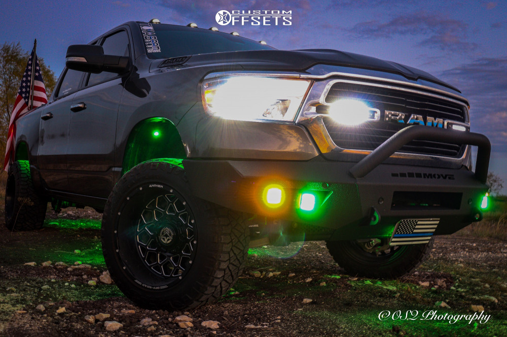 """2019 Ram 1500 Aggressive > 1"""" outside fender on 20x12 -44 offset Anthem Off-Road Avenger and 33""""x12.5"""" Nitto Ridge Grappler on Suspension Lift 3.5"""" - Custom Offsets Gallery"""