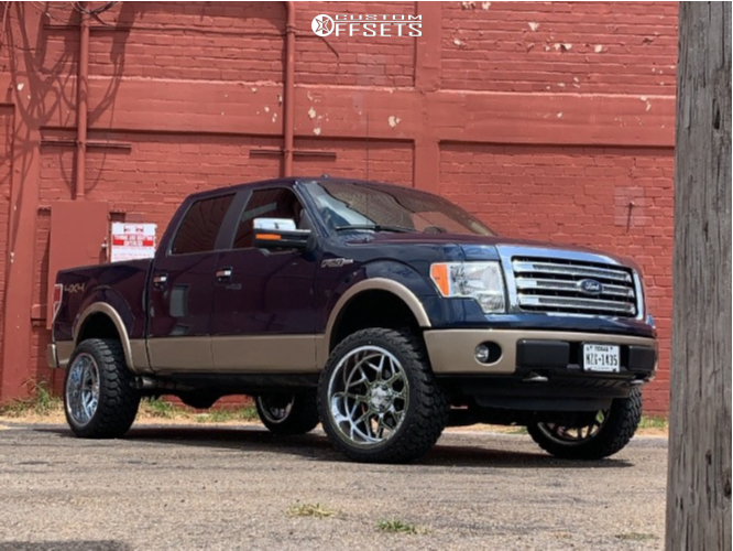 """2014 Ford F-150 Aggressive > 1"""" outside fender on 22x12 -44 offset Axe Offroad Nemesis and 33""""x12.5"""" Landsail Clx-9 Mudblazer M/t on Suspension Lift 4"""" - Custom Offsets Gallery"""