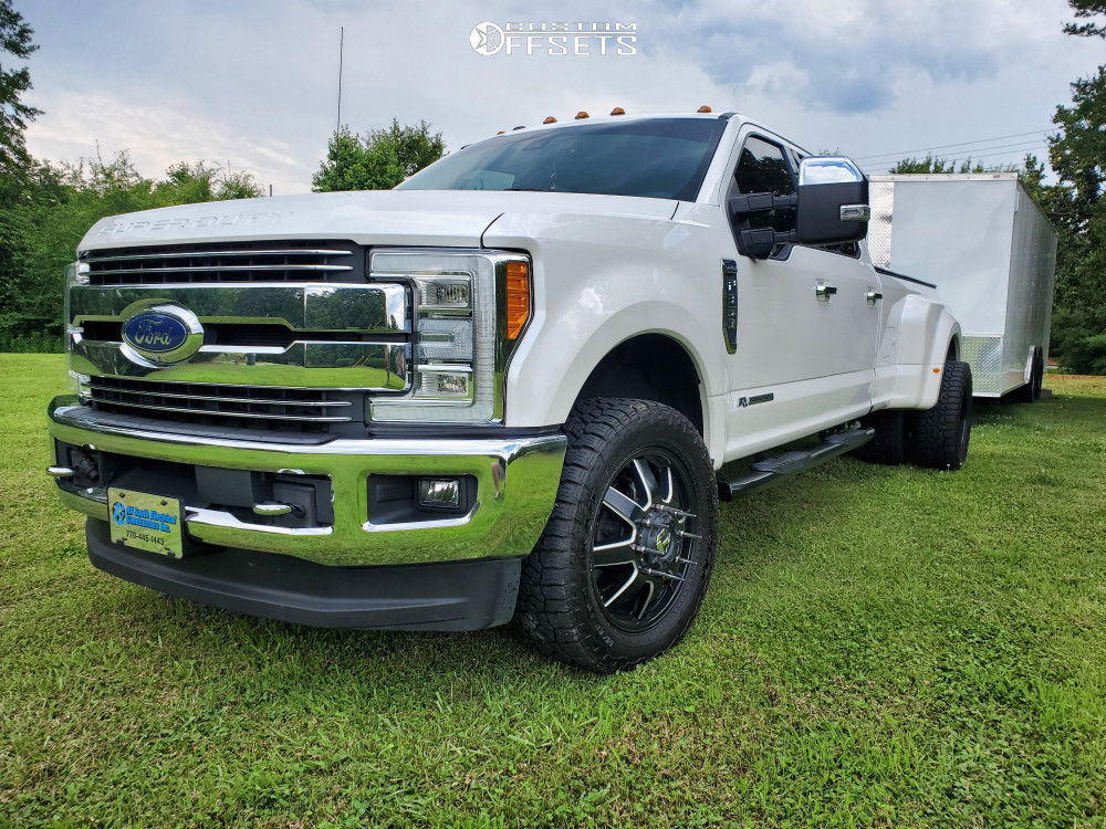 "2017 Ford F-350 Super Duty Dually Super Aggressive 3""-5"" on 20x8.25 122 offset Fuel Maverick and 285/55 Falken Wildpeak At3w on Level 2"" Drop Rear - Custom Offsets Gallery"