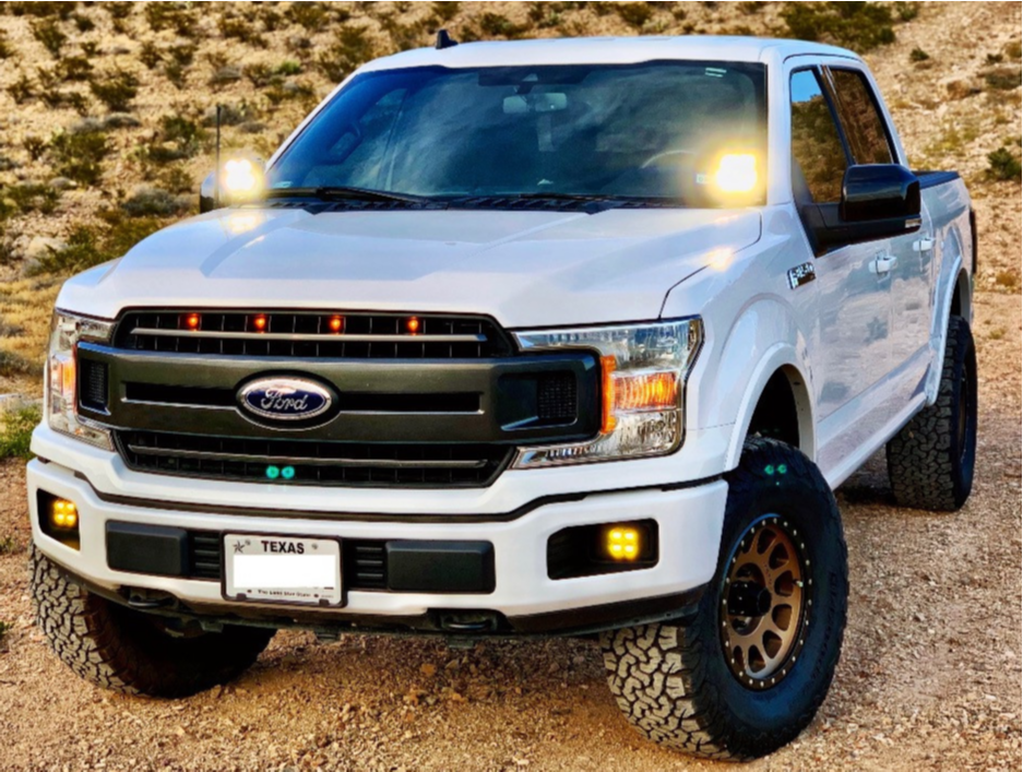 "2019 Ford F-150 Aggressive > 1"" outside fender on 17x8.5 0 offset Method Mr305 and 35""x12.5"" BFGoodrich All Terrain Ta Ko2 on Leveling Kit - Custom Offsets Gallery"