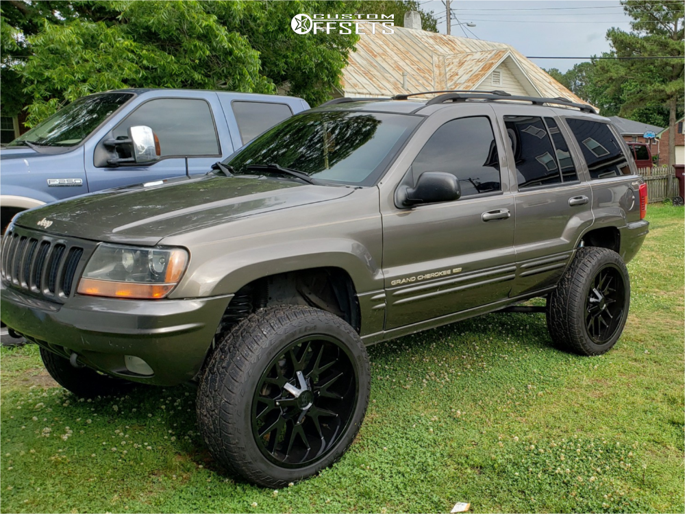 """1999 Jeep Grand Cherokee Aggressive > 1"""" outside fender on 22x10 -19 offset Hardrock Affliction and 285/45 Delinte Dx-10 Bandit At on Suspension Lift 4"""" - Custom Offsets Gallery"""