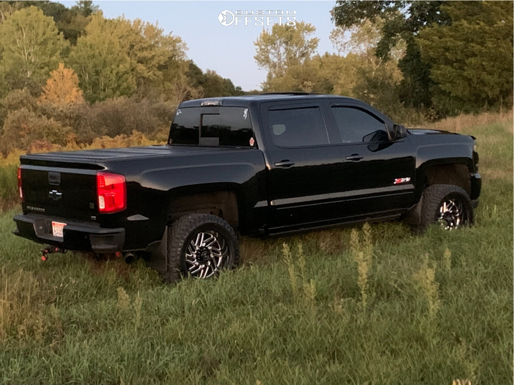 "2016 Chevrolet Silverado 1500 Aggressive > 1"" outside fender on 20x10 -19 offset Hostile Jigsaw and 35""x12.5"" Goodyear Wrangler Duratrac on Suspension Lift 4.5"" - Custom Offsets Gallery"