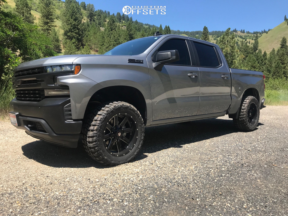 "2020 Chevrolet Silverado 1500 Aggressive > 1"" outside fender on 20x10 -19 offset Ballistic Rage and 33""x12.5"" Federal Couragia Mt on Leveling Kit - Custom Offsets Gallery"