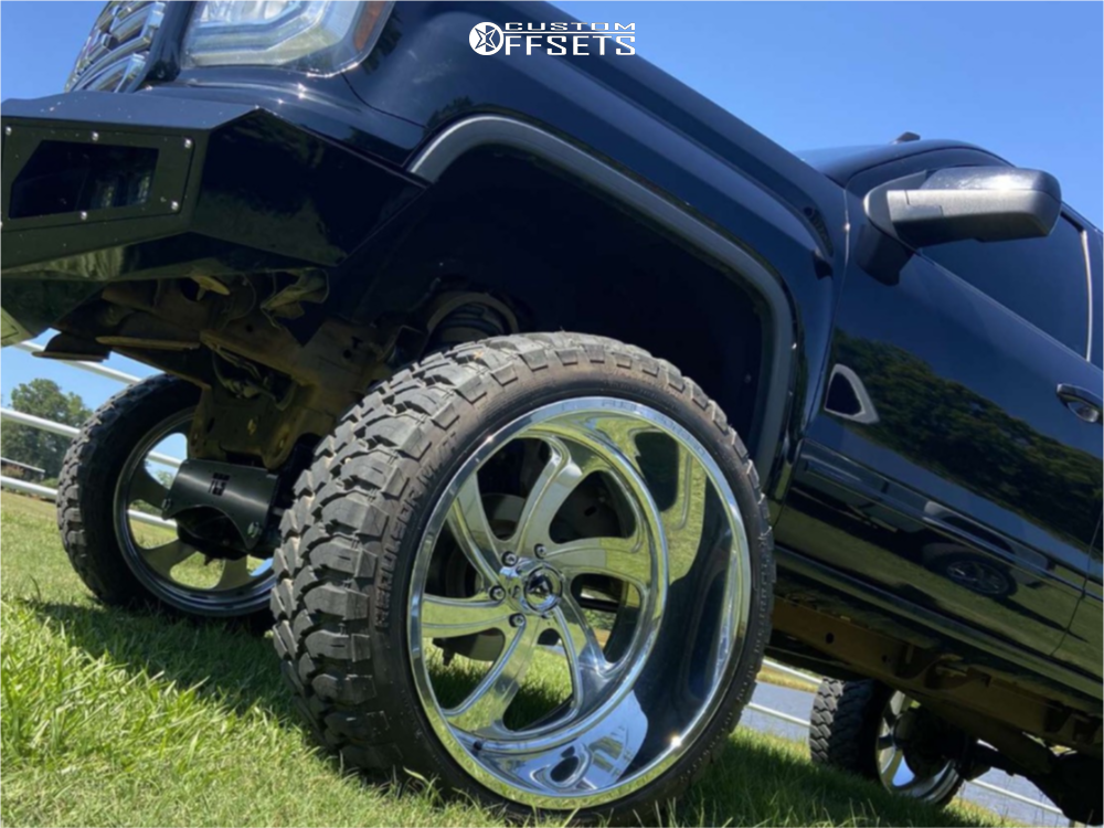 """2016 GMC Sierra 1500 Hella Stance >5"""" on 26x14 -76 offset Fuel Forged Ffc39 and 37""""x13.5"""" Rbp Repulsor Mt on Suspension Lift 9"""" - Custom Offsets Gallery"""