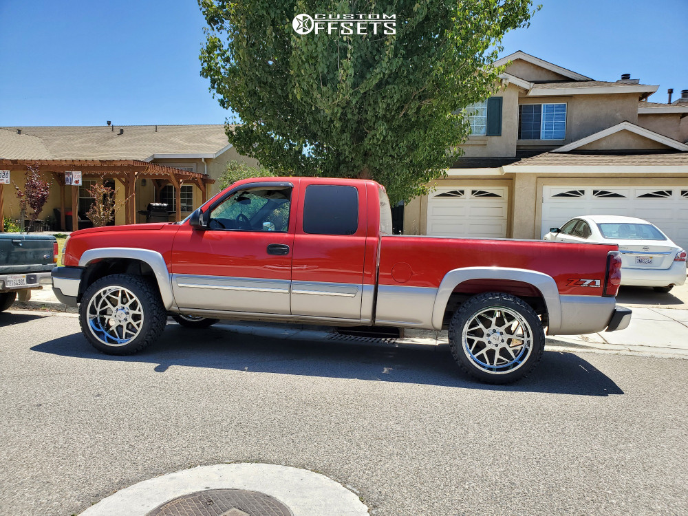 "2005 Chevrolet Silverado 1500 Aggressive > 1"" outside fender on 22x12 -44 offset Axe Offroad Nemesis and 33""x12.5"" Venom Power Terra Hunter X/t on Leveling Kit - Custom Offsets Gallery"