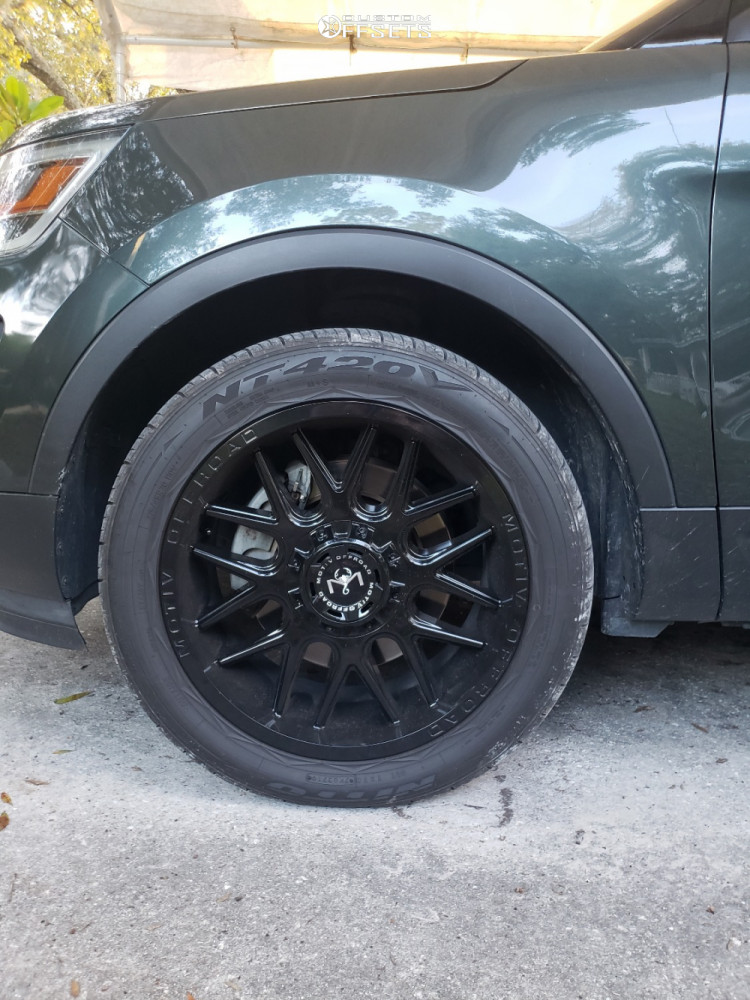"""2016 Ford Explorer Aggressive > 1"""" outside fender on 20x9 12 offset Motiv Offroad Magnus and 275/45 Nitto NT420V on Stock Suspension - Custom Offsets Gallery"""