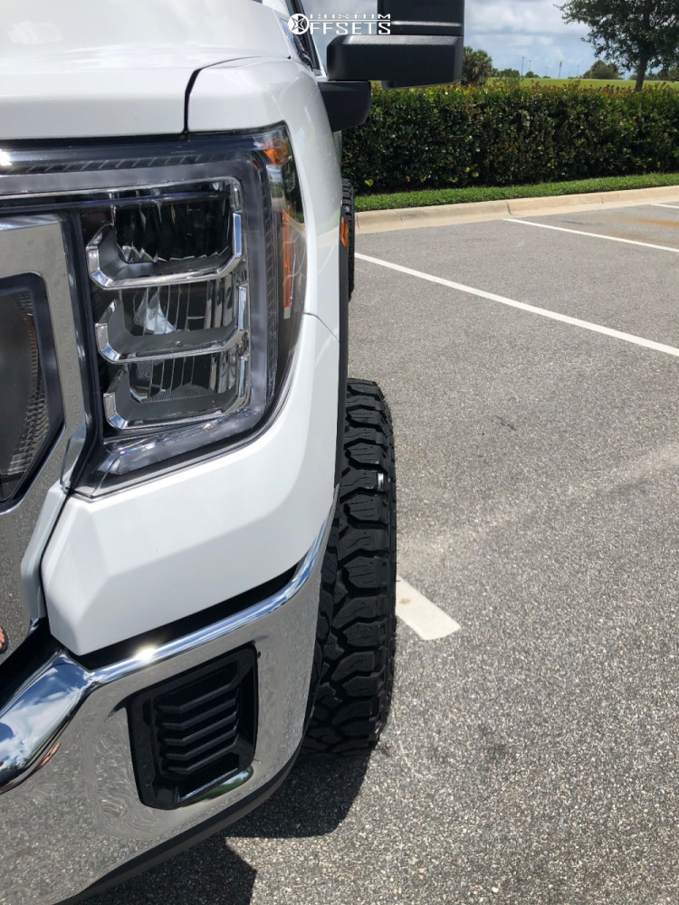 """2020 GMC Sierra 2500 HD Aggressive > 1"""" outside fender on 20x12 -44 offset Dropstars 655c and 33""""x12.5"""" Kenda Klever R/t on Stock Suspension - Custom Offsets Gallery"""