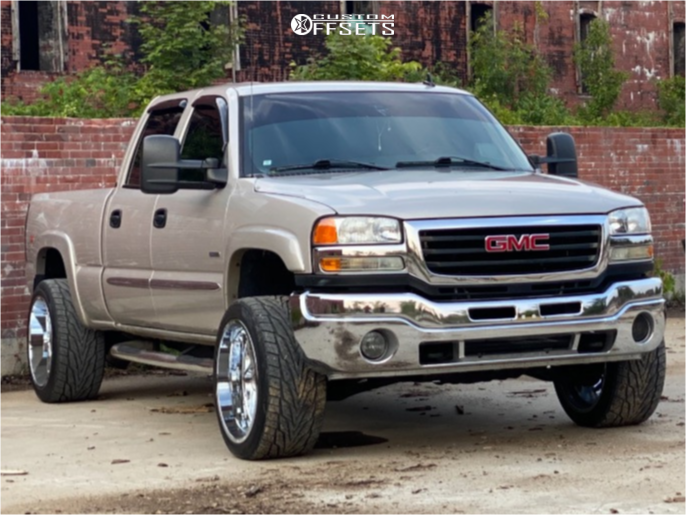 """2006 GMC Sierra 2500 HD Aggressive > 1"""" outside fender on 22x12 -44 offset Axe Offroad Nemesis and 305/40 Toyo Tires Proxes St Iii on Level 2"""" Drop Rear - Custom Offsets Gallery"""