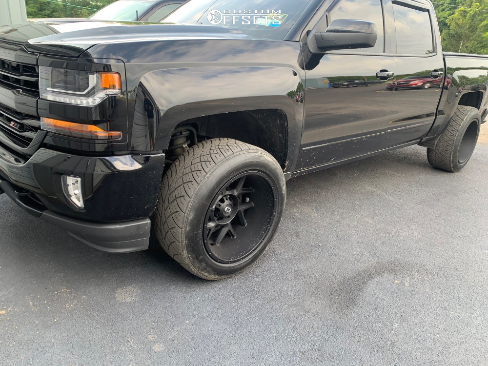 """2017 Chevrolet Silverado 1500 Aggressive > 1"""" outside fender on 20x12 -55 offset Vision Sliver and 305/55 Nitto Nt420v on Leveling Kit - Custom Offsets Gallery"""