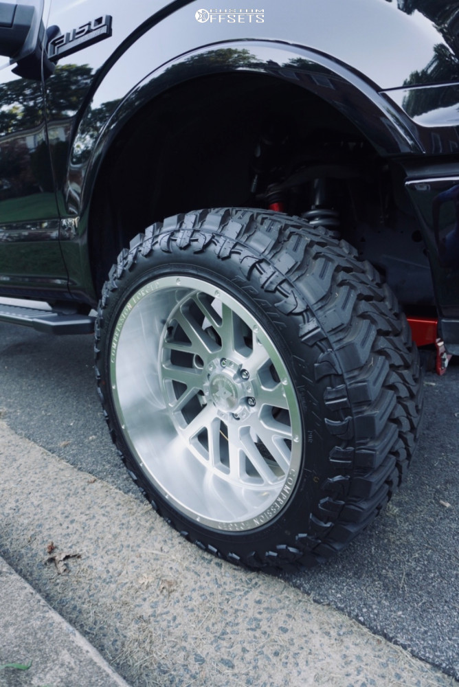 """2019 Ford F-150 Super Aggressive 3""""-5"""" on 22x12 -44 offset Axe Offroad Ax2.1 and 35""""x12.5"""" Atturo Trail Blade Mt on Suspension Lift 6"""" - Custom Offsets Gallery"""