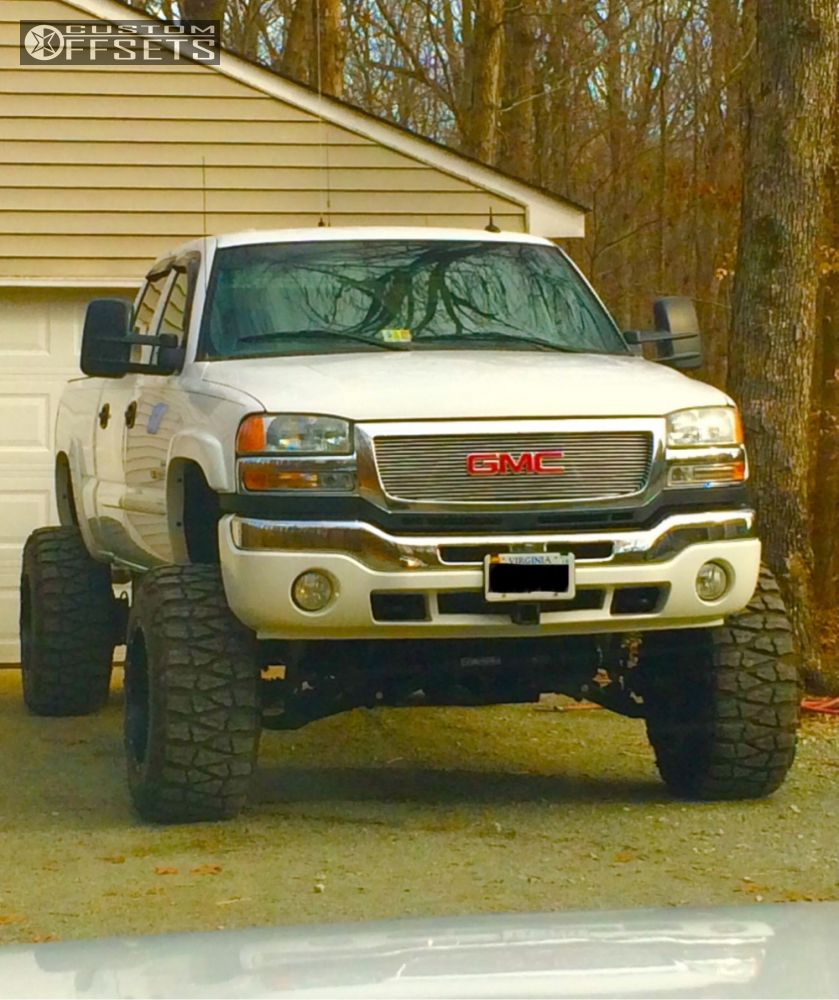 7 2005 sierra 2500 hd gmc suspension lift 8 fuel hostage black hella stance 5