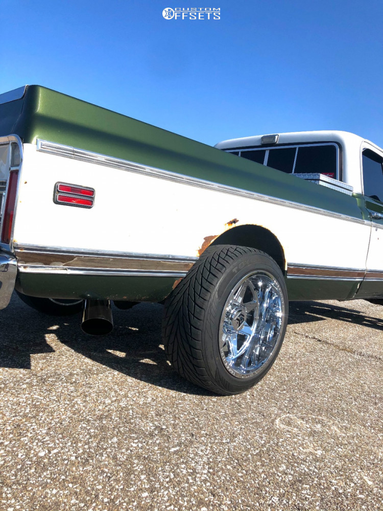 """1972 Chevrolet C10 Pickup Aggressive > 1"""" outside fender on 20x12 -44 offset Dropstars 655c and 295/45 Toyo Proxes on Leveling Kit - Custom Offsets Gallery"""