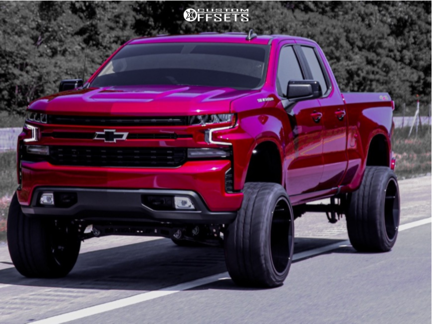 "2020 Chevrolet Silverado 1500 Super Aggressive 3""-5"" on 24x14 -76 offset Hostile Jigsaw and 35""x13.5"" Amp Mud Terrain Attack Mt A on Suspension Lift 8"" - Custom Offsets Gallery"