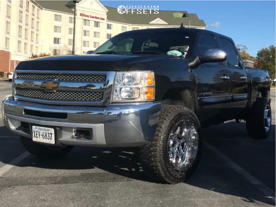 """2013 Chevrolet Silverado 1500 Aggressive > 1"""" outside fender on 20x12 -57 offset Vision Spyder and 305/50 Atturo Trail Blade Xt on Leveling Kit - Custom Offsets Gallery"""