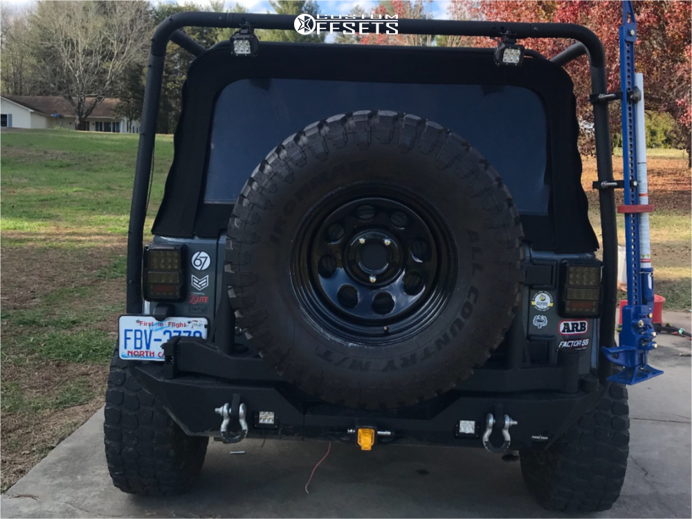 """2014 Jeep Wrangler Aggressive > 1"""" outside fender on 17x8 -12 offset Vision Soft 8 and 35""""x12.5"""" Ironman All Country Mt on Leveling Kit - Custom Offsets Gallery"""