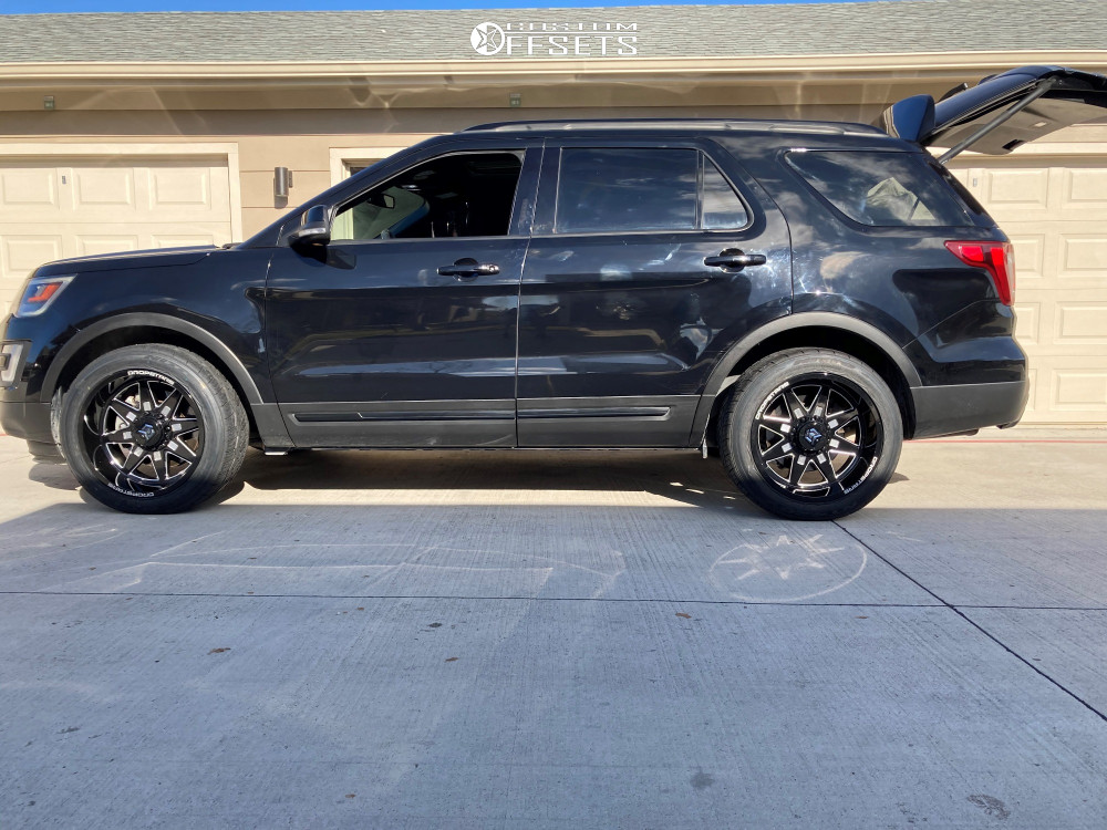 """2017 Ford Explorer Aggressive > 1"""" outside fender on 20x10 -24 offset Dropstars 655bm and 275/45 Nitto Nt420v on Stock Suspension - Custom Offsets Gallery"""