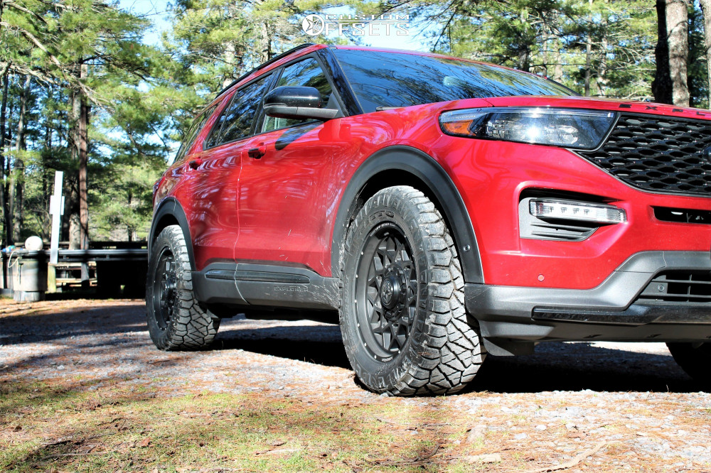 """2020 Ford Explorer Aggressive > 1"""" outside fender on 20x9 0 offset Anthem Off-Road Avenger and 33""""x12.5"""" Nitto Ridge Grappler on Stock Suspension - Custom Offsets Gallery"""