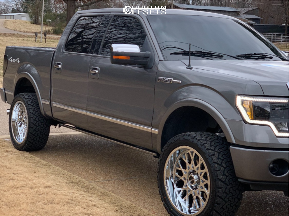 """2010 Ford F-150 Aggressive > 1"""" outside fender on 22x10 -19 offset Vision Rocker and 33""""x12.5"""" Venom Power Terra Hunter R/t on Suspension Lift 3"""" - Custom Offsets Gallery"""
