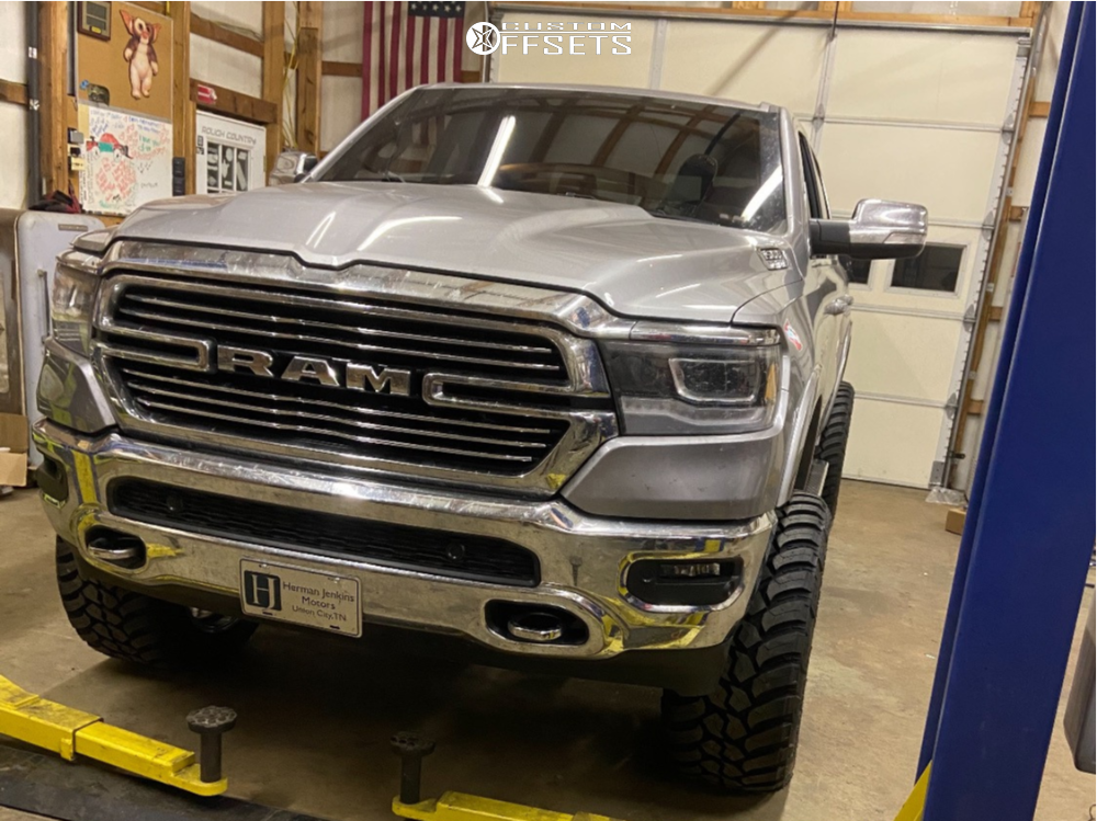 "2020 Ram 1500 Super Aggressive 3""-5"" on 22x12 -44 offset Axe Offroad Nemesis and 35""x13.5"" AMP Mud Terrain Attack Mt A on Suspension Lift 6"" - Custom Offsets Gallery"