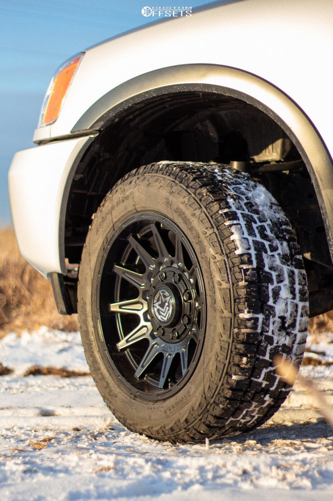 """2015 Nissan Titan Aggressive > 1"""" outside fender on 20x10 -18 offset Anthem Off-Road Liberty and 32""""x10.5"""" Pirelli Scorpion All Terrain Plus on Suspension Lift 3"""" - Custom Offsets Gallery"""