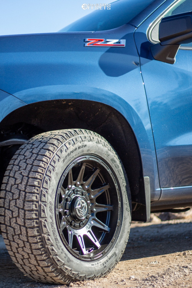 """2021 Chevrolet Silverado 1500 Aggressive > 1"""" outside fender on 20x10 -18 offset Anthem Off-Road Liberty and 275/65 Pirelli Scorpion All Terrain Plus on Stock Suspension - Custom Offsets Gallery"""