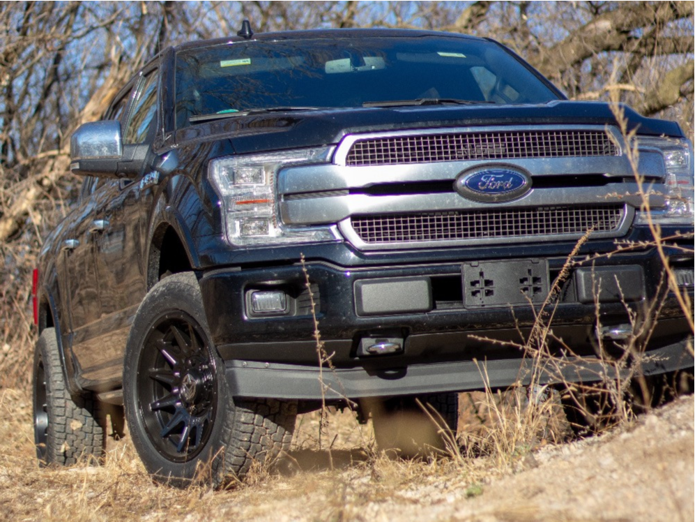 "2019 Ford F-150 Aggressive > 1"" outside fender on 20x10 -18 offset Anthem Off-Road Liberty and 255/65 Pirelli Scorpion All Terrain Plus on Leveling Kit - Custom Offsets Gallery"