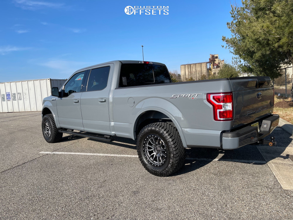 "2020 Ford F-150 Aggressive > 1"" outside fender on 18x9 -12 offset Fuel Rebel and 33""x12.5"" Atturo Trail Blade Xt on Stock - Custom Offsets Gallery"