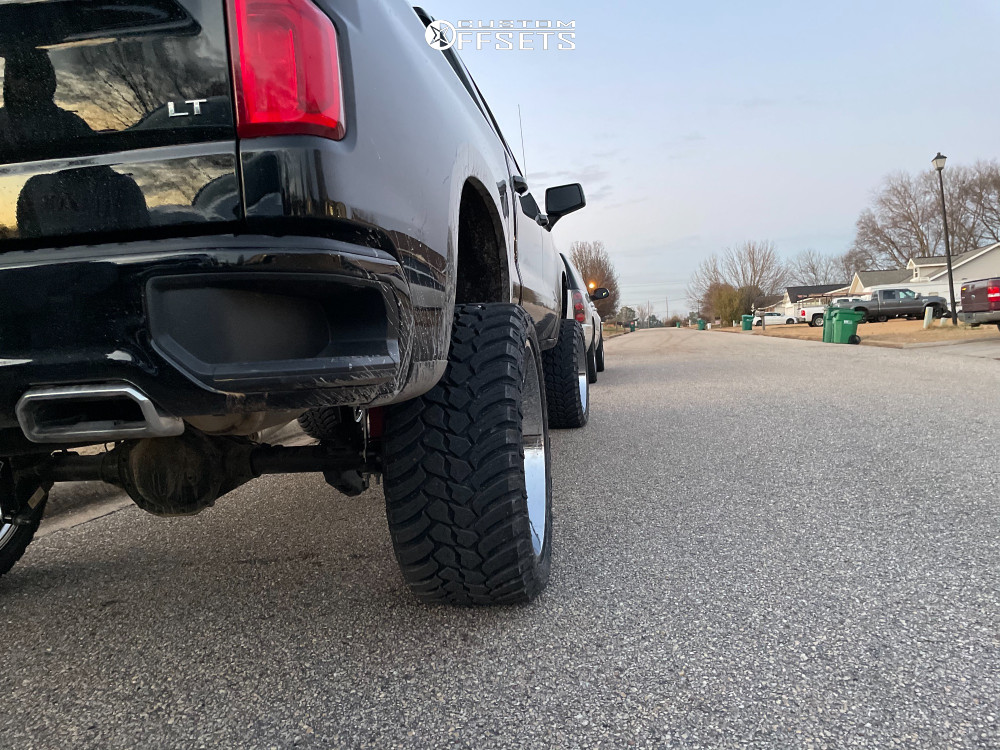 """2021 Chevrolet Silverado 1500 Super Aggressive 3""""-5"""" on 24x12 -51 offset ARKON OFF-ROAD Lincoln and 35""""x13.5"""" AMP Mud Terrain Attack Mt A on Suspension Lift 9"""" - Custom Offsets Gallery"""