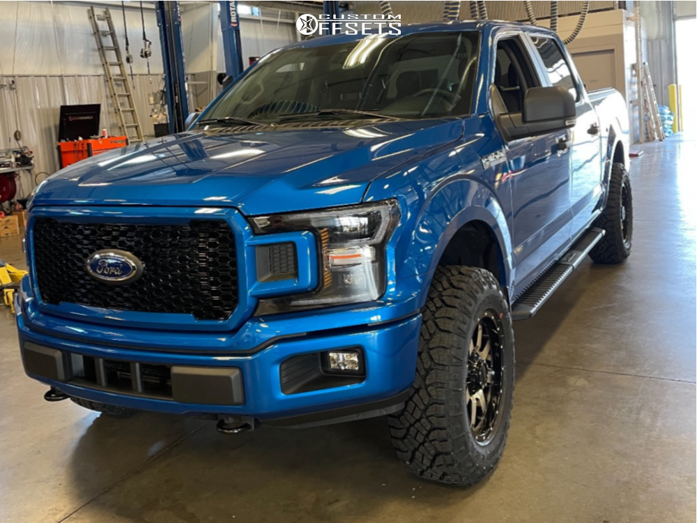 """2019 Ford F-150 Slightly Aggressive on 18x9 -12 offset Gear Off-Road Big Block and 33""""x10.5"""" Goodyear Wrangler Duratrac on Leveling Kit - Custom Offsets Gallery"""