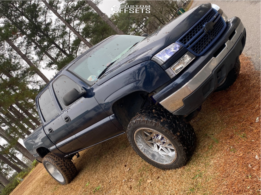 "2006 Chevrolet Silverado 1500 Aggressive > 1"" outside fender on 14x12 -44 offset XF Forged Xfx-302 and 35""x12.5"" Nitto Trail Grappler on Suspension Lift 8"" - Custom Offsets Gallery"