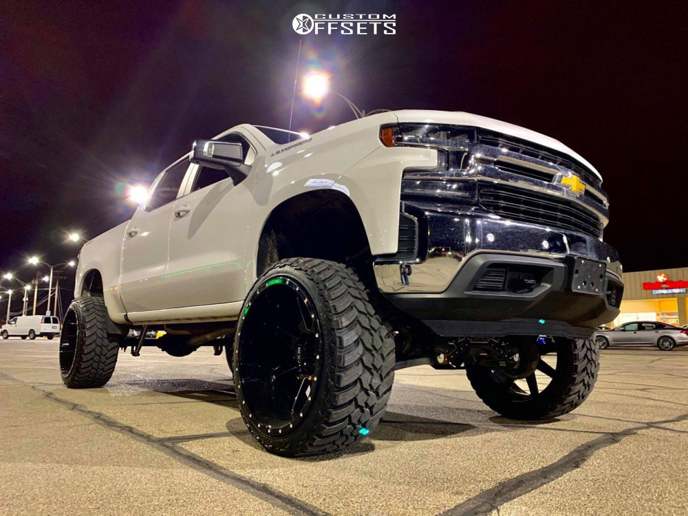 """2020 Chevrolet Silverado 1500 Aggressive > 1"""" outside fender on 26x14 -76 offset Xtreme Mudder Xm-304 and 37""""x13.5"""" Amp Mud Terrain Attack Mt A on Suspension Lift 10"""" - Custom Offsets Gallery"""