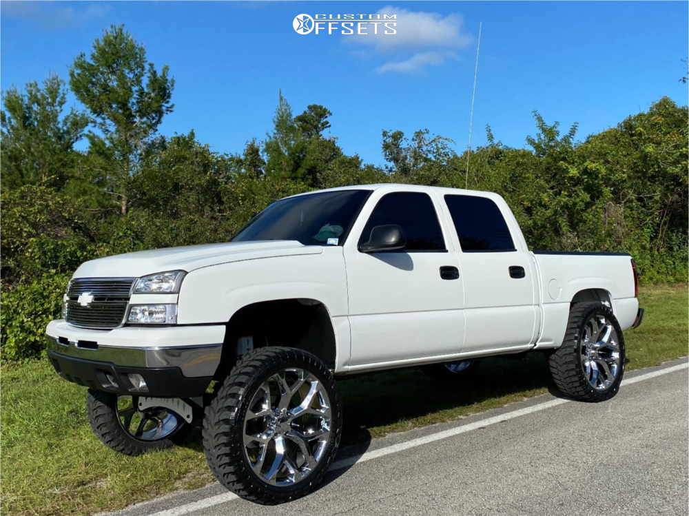 "2006 Chevrolet Silverado 1500 Aggressive > 1"" outside fender on 26x10 31 offset Strada Replicas Gm Snowflake Replica and 37""x13.5"" Road One Aethon M/t on Suspension Lift 10"" - Custom Offsets Gallery"