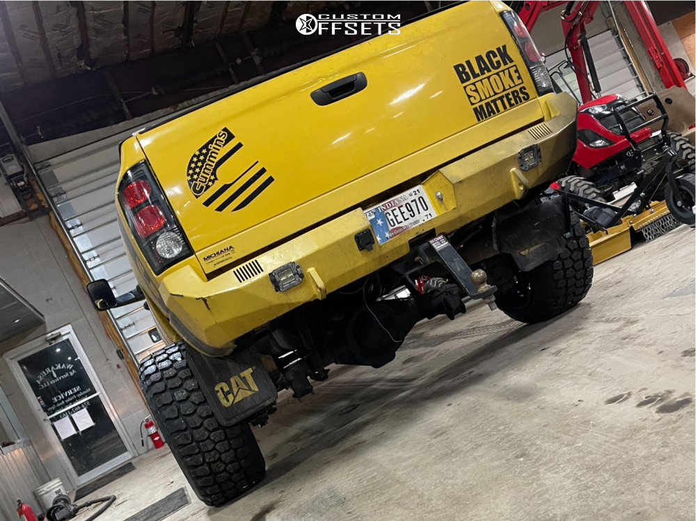 """2005 Dodge Ram 2500 Hella Stance >5"""" on 20x9 0 offset Hardrock Devious H701 and 35""""x12.5"""" Road One All Country Mt on Suspension Lift 5.5"""" - Custom Offsets Gallery"""