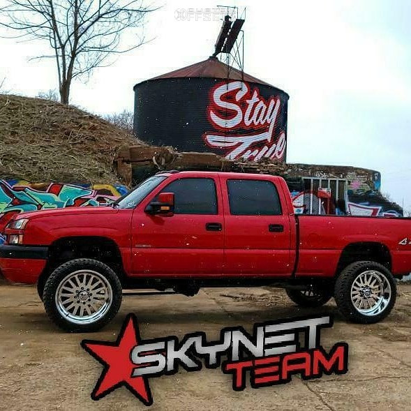 """2004 Chevrolet Silverado 2500 HD Hella Stance >5"""" on 24x12 -44 offset American Force Atom Ss and 325/45 Atturo Trail Blade Xt on Suspension Lift 6"""" - Custom Offsets Gallery"""