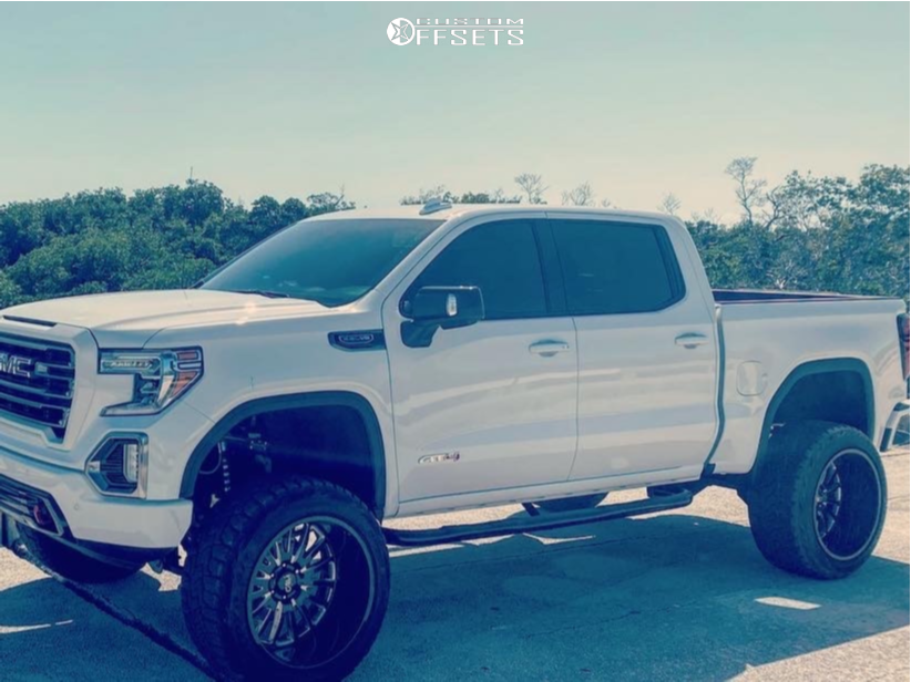 """2020 GMC Sierra 1500 Hella Stance >5"""" on 24x14 -76 offset Cali Offroad Summit and 37""""x13.5"""" Toyo Tires Open Country R/T on Suspension Lift 9"""" - Custom Offsets Gallery"""