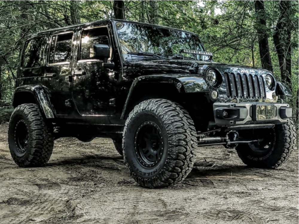 """2011 Jeep Wrangler Super Aggressive 3""""-5"""" on 17x9 0 offset Pro Comp Series 46 and 37""""x13.5"""" Milestar Patagonia Mt on Suspension Lift 3.5"""" - Custom Offsets Gallery"""