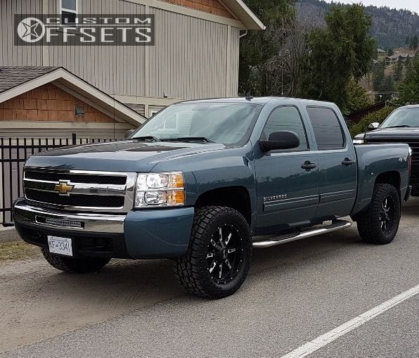 1 2011 Silverado 1500 Chevrolet Leveling Kit Alloy Ion Style 184 Machined Black Aggressive 1 Outside Fender