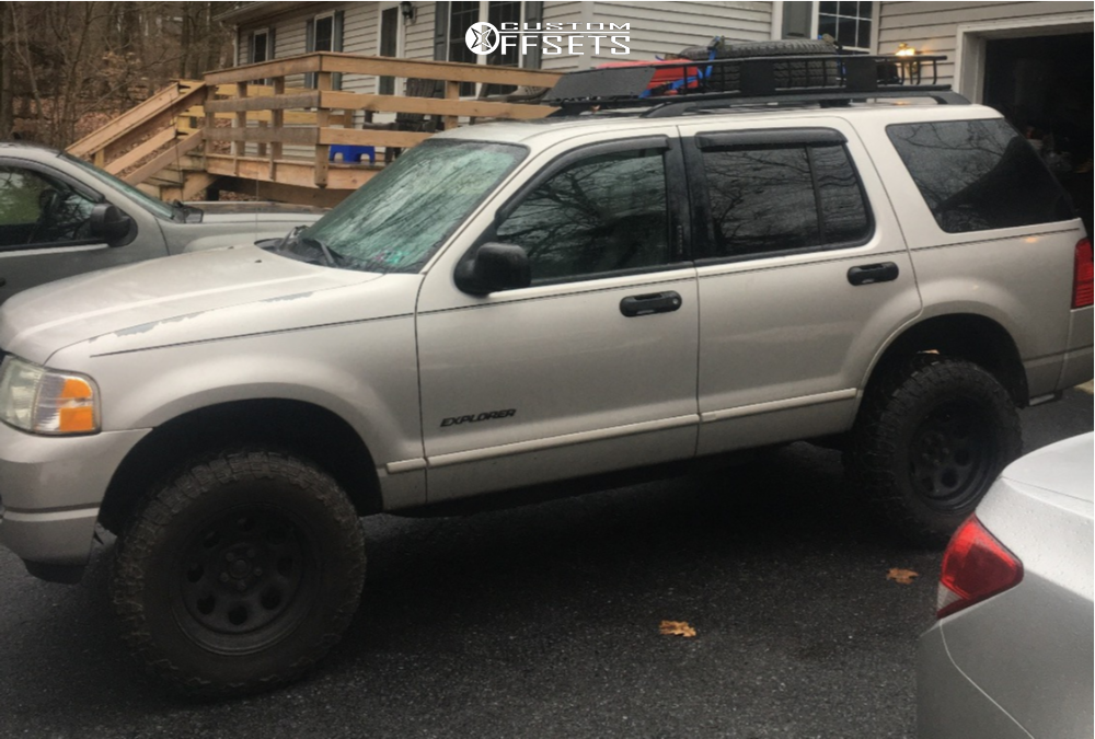 """2004 Ford Explorer Aggressive > 1"""" outside fender on 17x9 -12 offset Black Rock Type 8 and 265/70 Centennial Dirt Commander Mt on Suspension Lift 2.5"""" - Custom Offsets Gallery"""
