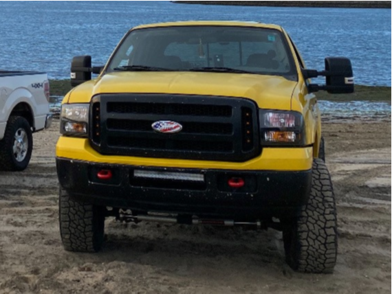 "2005 Ford F-250 Super Duty Aggressive > 1"" outside fender on 20x10 -24 offset Method Mesh MR606 and 35""x12.5"" Cooper Discoverer Stt Pro on Suspension Lift 2.5"" - Custom Offsets Gallery"