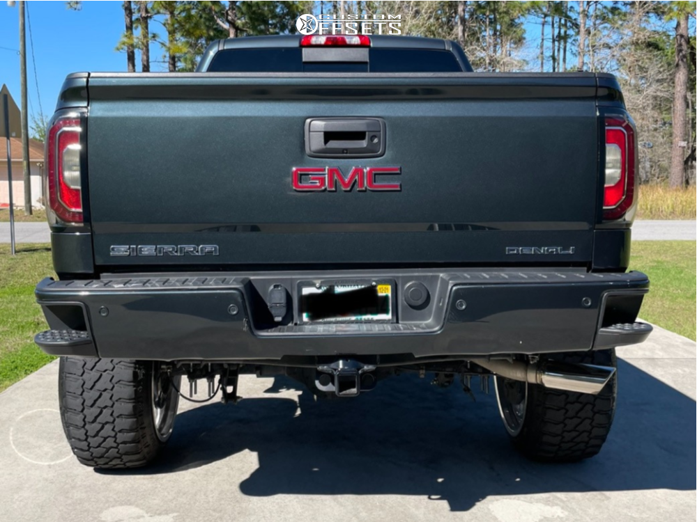 """2018 GMC Sierra 1500 Hella Stance >5"""" on 24x14 -76 offset Fuel Forged Ff29 and 35""""x13.5"""" Fury Offroad Country Hunter Mt on Suspension Lift 7"""" - Custom Offsets Gallery"""