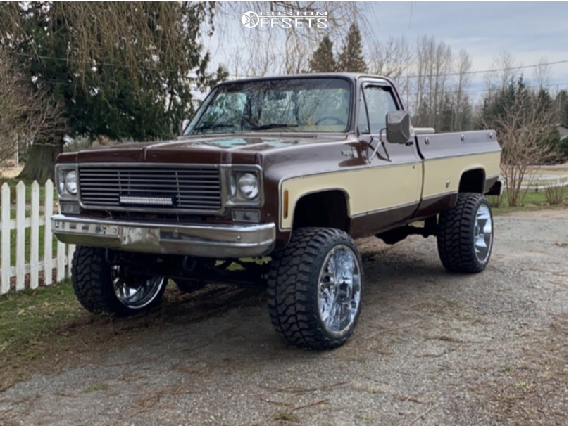 "1978 Chevrolet K20 Pickup Super Aggressive 3""-5"" on 24x14 -76 offset TIS 544c and 35""x15.5"" Fury Offroad Country Hunter Mt on Suspension Lift 4"" - Custom Offsets Gallery"