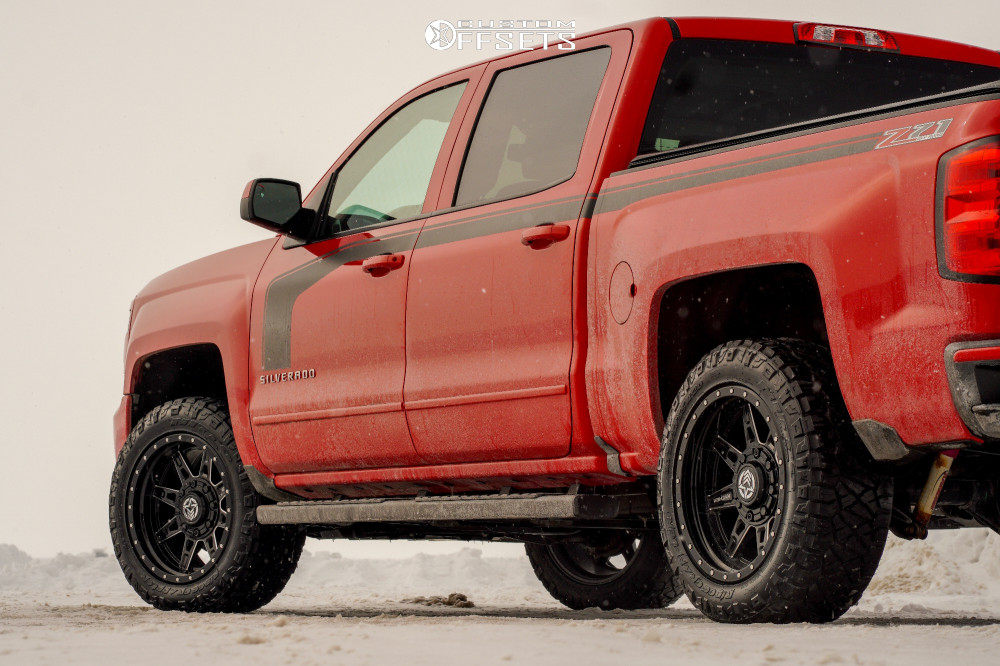 "2016 Chevrolet Silverado 1500 Aggressive > 1"" outside fender on 20x10 -18 offset Anthem Off-Road Rogue and 275/55 Nitto Ridge Grappler on Leveling Kit - Custom Offsets Gallery"