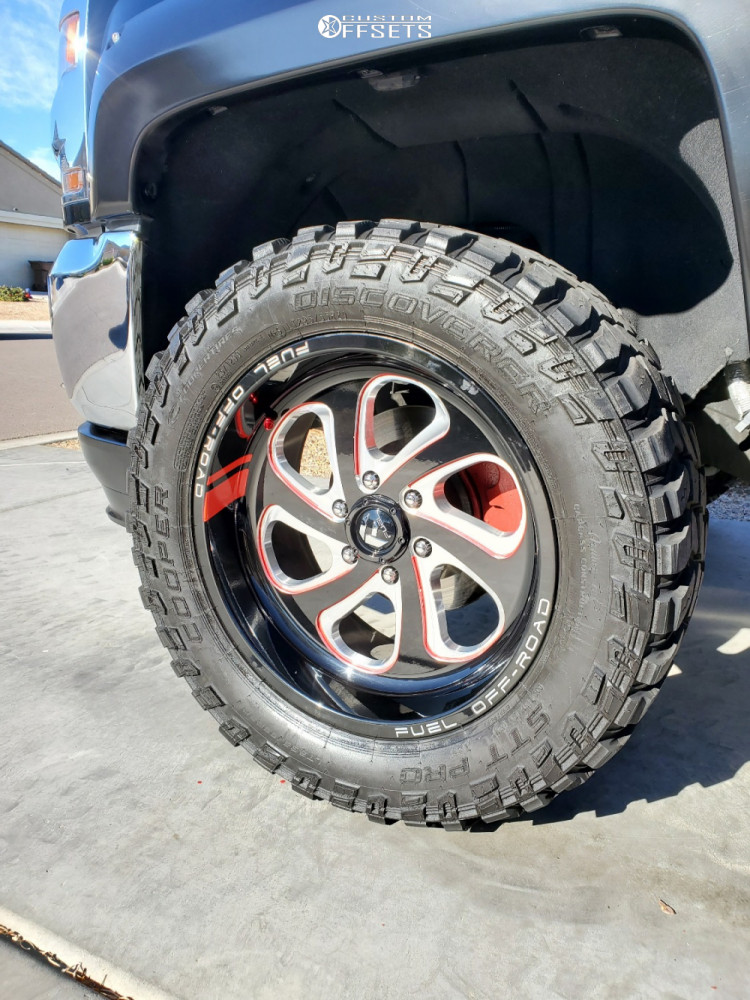 """2017 Chevrolet Silverado 1500 Aggressive > 1"""" outside fender on 22x10 -18 offset Fuel Flow and 33""""x12.5"""" Cooper Discoverer Stt Pro on Leveling Kit - Custom Offsets Gallery"""